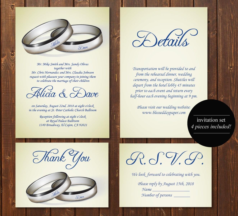 Set of 4 Silver Wedding Invitation Template/E-Card Wedding ...
