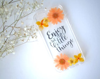 Pressed Flower iPhone Case from Spring in Eden- Handlettering/ Quote/ Gifts for her/ Summer/ Enjoy the Little Things/ Good Vibes/ Orange/