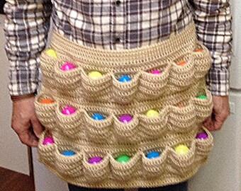 Crochet egg apron, egg apron, egg collecting apron, homesteading apron, harvest apron, egg gathering apron, egg carrying apron, egg pockets