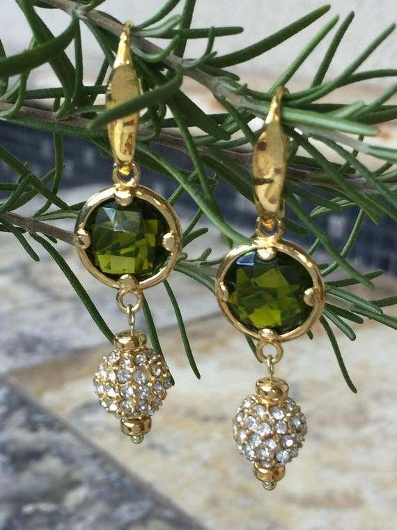 Gold Pave CZ Earrings, Pave Dangle, Green Stone Earrings, Peridot Green Earrings, Gold and Green Drop Earrings, Gold and Green Earrings