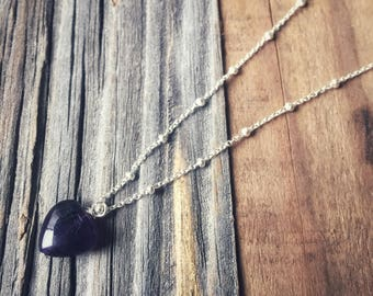 Amethyst Heart Sterling Silver Necklace