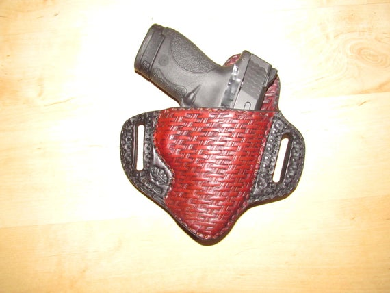 Leather Holster, Embossed Holster, handtooled holster, basket weave, leather basket weave holster