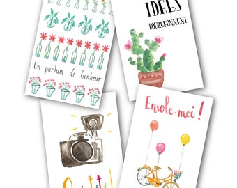 Carte postale +enveloppe - illustration originale aquarelle - phrases positives