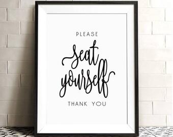 Please Seat Yourself, Funny Bathroom Art, Bathroom Wall Quotes, Funny Wall  Decor,