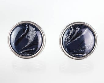 Round patterned vintage clip earrings
