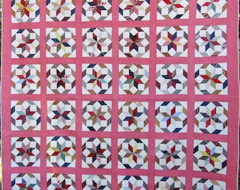 Chained Star Antique Quilt with Double Pink Sashing