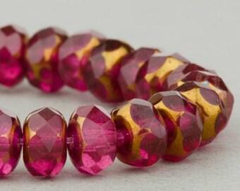Czech Glass Beads - Czech Glass Rondelles - Fuchsia with Bronze - 5x3mm - 30 Beads