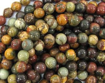"6mm multicolor picasso jasper round beads 15.5"" strand 31567"
