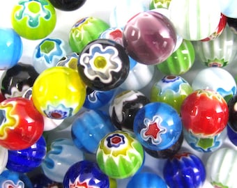 """10mm multicolor lampwork glass round beads 14"""" strand 34734"""