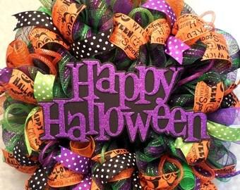 PRE-LABOR DAY Sale Halloween Wreath, Halloween Wreaths, Wreath, Fall Wreaths, Wreaths, Happy Halloween wreath, Halloween, Fall, Mesh Hallowe