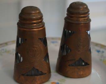 Vintage Salt and Pepper Shakers, Copper Salt and Pepper, Arts and Crafts Salt and Pepper Shakers