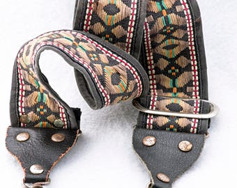 """Vintage Geometric Black, Yellow, Red, White, and Green Camera Strap for, 43"""" Long, 2"""" Wide, for Canon, Nikon, Pentax, Sony, and Others"""