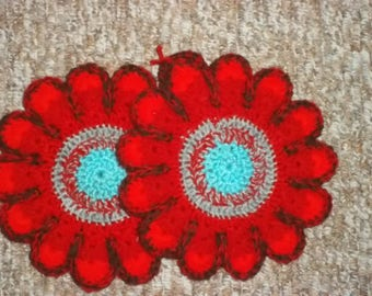 crocheted coasters/table mats, oven mitts, Red