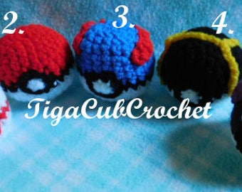Hacky Sack Crochet Red, Great, Ultra, Premier, Master Pokemon Inspired Pokeball Cute Made To Order
