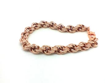 Ladies handwoven double spiral bronze chainmaille/chainmail bracelet. Free shipping