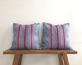 "18"" by 18"" Set of 2 Vintage Cushion Covers Hmong Hill Tribe Ethnic Batik Thai"