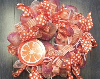 Orange Sunset deco mesh ribbon wreath