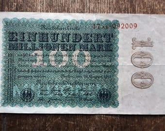 Old Germany Einhundert 100000 Mark Banknote 1923,Old German Banknote 100000 mark