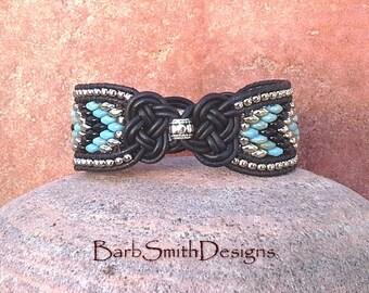 "ON SALE!  Black Leather Butterfly Bracelet, Turquoise Black Silver Cuff, Unique Wrap Bracelet, Size 6 3/4"", Madame Butterfly Monarch Blue"