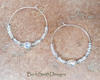 "Beaded Silver Crystal Hoop Earrings, Large 1 3/8"" Diameter in Silver Mist"