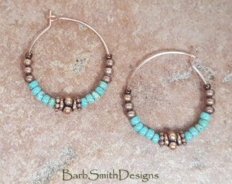 "Beaded Turquoise (Green) Copper Rose Gold Hoop Earrings, 1"" Diameter in Picasso Turquoise Green"
