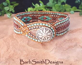 "Turquoise Beaded Bracelet-Wrap Bracelet-Leather Bracelet-Cuff Bracelet-Southwest Bracelet-Custom Sizes-""Desert Streams""-Turquoise n' Coral"