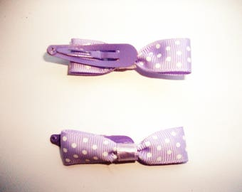 Hair clip light purple bows with polka dots