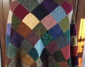 Hand-knit throw/wrap