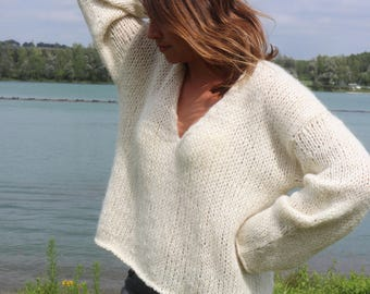 V-neck sweater - Oversize sweater - handknit - Grey Pullover - Natural Pullover