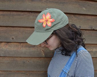 Hand Embroidered Tiger Lily Olive Baseball Hat