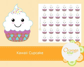 Cute Cupcake Stickers, Kawaii Cupcake Stickers, Planner Stickers