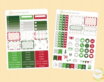 Christmas Mini Kit, Christmas Planner Stickers, Christmas Weekly Kit, Erin Condren Life Planner, Happy Planner, Filofax