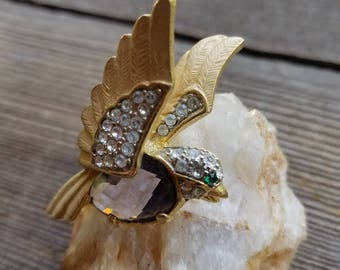Rhinestone & Amethyst Bird Pin / Brooch (gold tone, eagle, sparrow, robin, feathers, wings, faceted) #JB-108