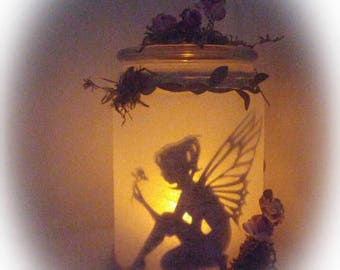 Fairy Caught in light jar, lantern fairy lights, led, fairy in flask, night light, ambient light