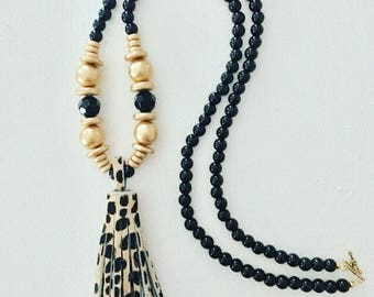 CHEETAH Print Beaded Tassel Necklace | black, gold, statement necklace, gold, animal, print, leather, fur