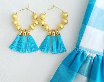 GOLD and TURQUOISE Tassel Hoop Earrings | lightweight, beaded, Designs by Laurel Leigh, tarnish resistant