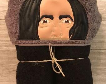 Hooded Towel, Professor Snape Hooded Towel, Professor Snape Bath Towel, Bath, Bathroom, Professor Snape Towel