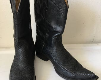 Black men's cowboy boots, from real leather, soft and genuine leather, vintage style, western, old boots, retro boots, men's size 9 1/2.