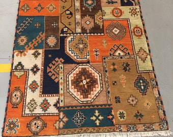 Carpet rug 100% wool geometric carpet brown, orange blue color warm vintage carpet old retro style small rug suitable for home & restaurant.