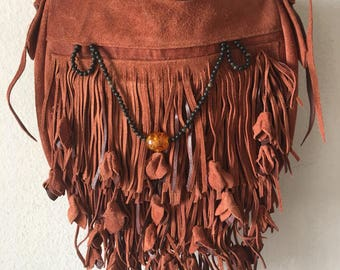Real suede bag handmade bag soft suede with elements of fashionable leather fringe with amber stone new women's brown color has size-small.
