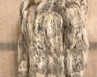 Gray rabbit fur coat woman size medium .