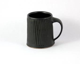 Handmade Ceramic Mug, Pottery Coffee Mug, Carved Black