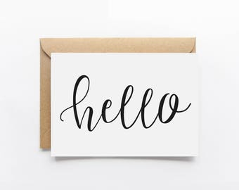 Hello Card Greeting Card - General Card - Typography Card