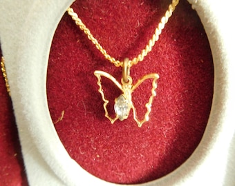 "Gold Tone Open Butterfly Necklace with ""Diamond Look"" Stone on Gold Tone 15 Inch Chain"