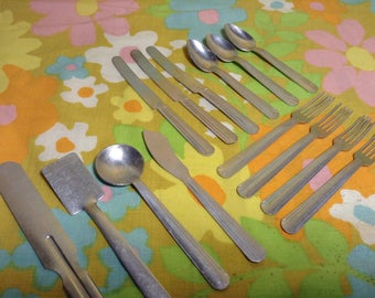 Vintage Set of 14 Aluminum Toy Child's Silverware