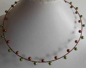 Khaki chocolate wired bridal necklace