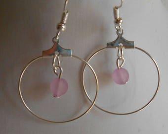 Mini hoop with beaded heart purple