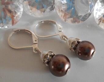 Earrings sleepers wedding Brown and white pearls and rhinestones