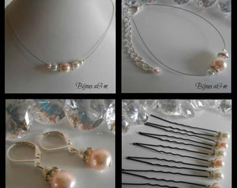 Set of 4 wedding pieces white and pale pink pearls and rhinestones