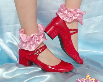 Pink ankle ruffles